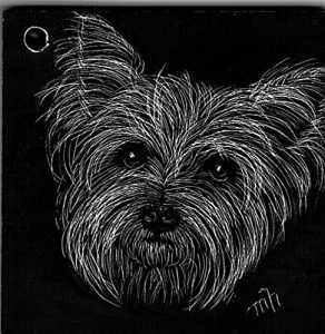 Hand Etched Yorkie Yorkshire Terrier Ornament
